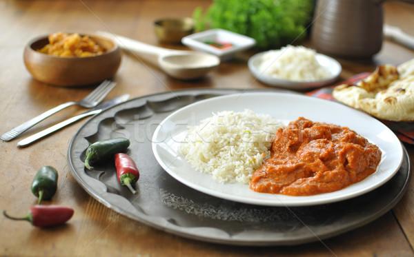 Strigliare pollo al curry piatto riso peperoncino pepe Foto d'archivio © unikpix