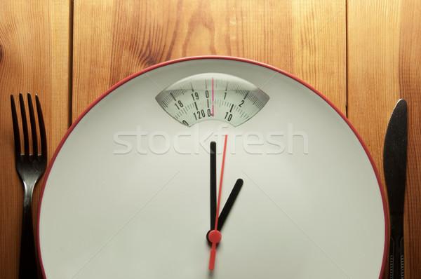 диета время часы рук указывая Весы Сток-фото © unikpix