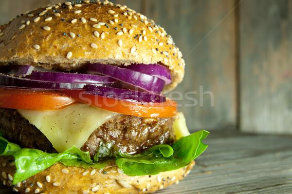 Sığır eti Burger gurme peynir domates Stok fotoğraf © unikpix
