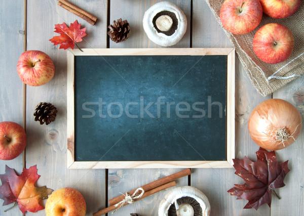 Najaar lege schoolbord ruimte appel blad Stockfoto © unikpix