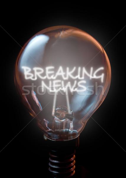 Rendkívüli hírek villanykörte hírek hálózat kommunikáció lámpa Stock fotó © unikpix