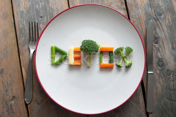 Stok fotoğraf: Diyet · metin · plaka · brokoli