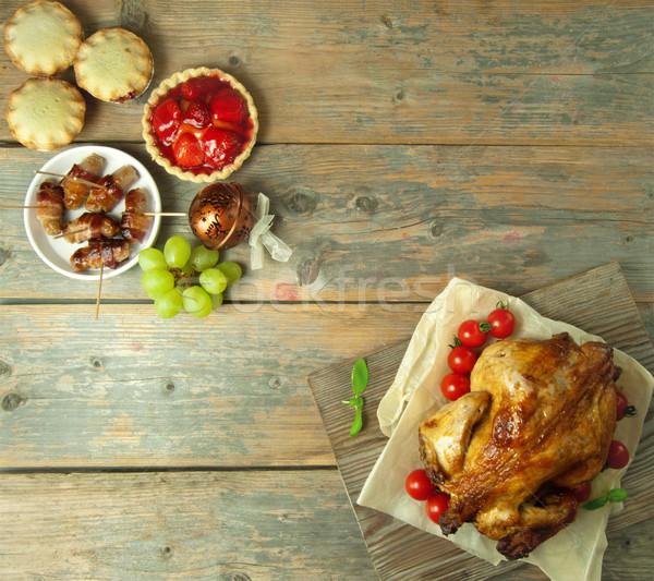 Foto stock: Natal · refeição · segurelha · alimentos · doces · topo