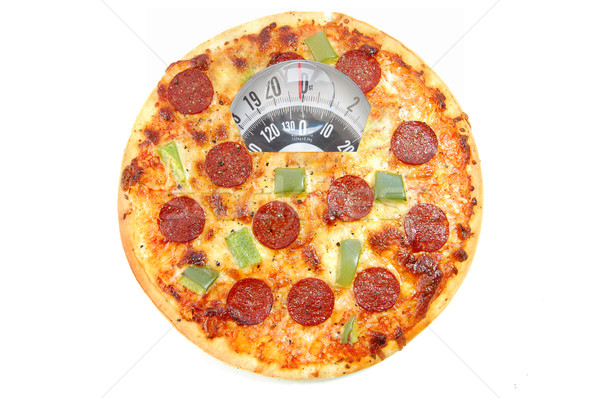 Foto stock: Dieta · interesse · pizza · banheiro · balança · branco