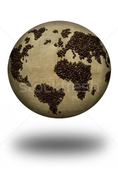 コーヒー 地図 アトラス 世界中 コーヒー豆 白 ストックフォト © unikpix