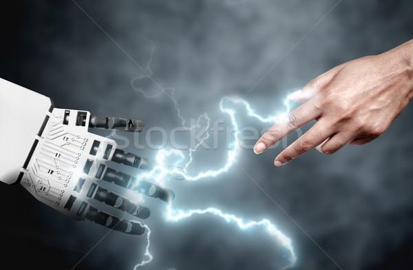 Stock photo: Robot human hand