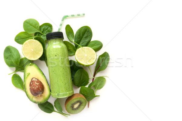 Zöld smoothie űr detoxikáló ital zöld ételek Stock fotó © unikpix