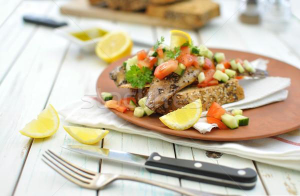 Makreel vis gerookt vers gehakt komkommer Stockfoto © unikpix
