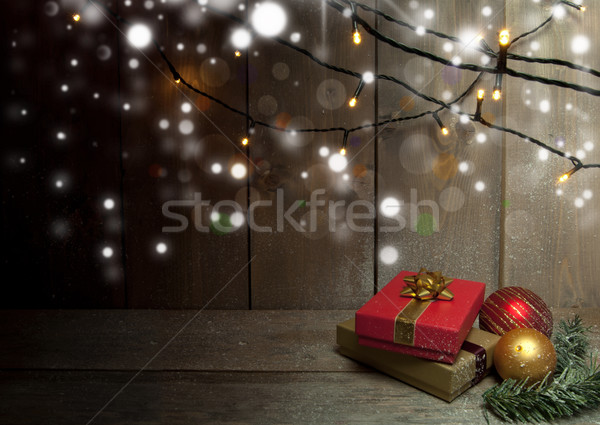 Stock photo: Christmas gifts background