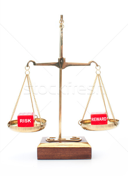 Kockázat vs jutalom kocka mérleg vezetőség Stock fotó © unikpix