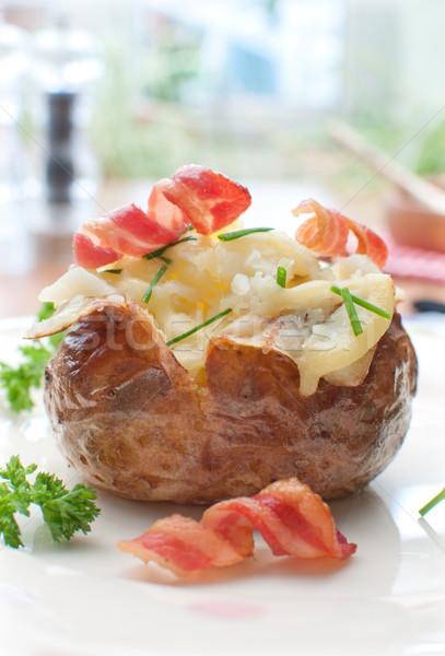 Stockfoto: Gebakken · aardappel · hot · gekruld · spek · geraspte · kaas