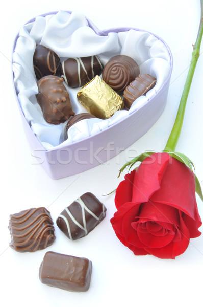 Chocolates and red rose Stock photo © unikpix