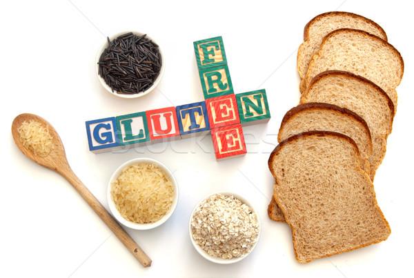 Stockfoto: Glutenvrij · brief · blokken · producten · wild · rijst