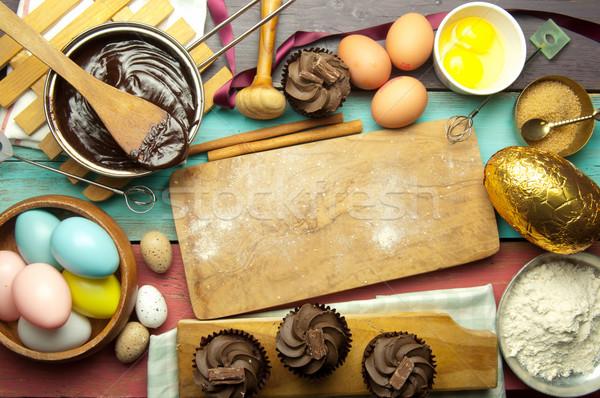 Stock fotó: Húsvét · sütés · konyha · hozzávalók · forró · csokoládé · tojások
