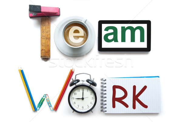 Teamarbeit Schreibwaren Büro Werkzeuge digitalen Tablet Stock foto © unikpix