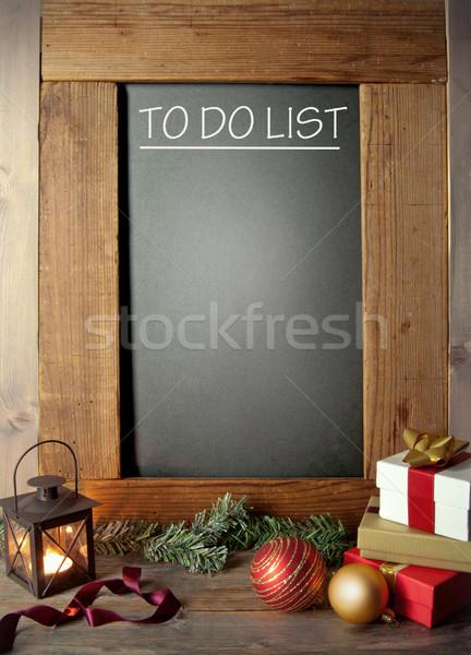 Natal para fazer a lista quadro-negro festa compras Foto stock © unikpix