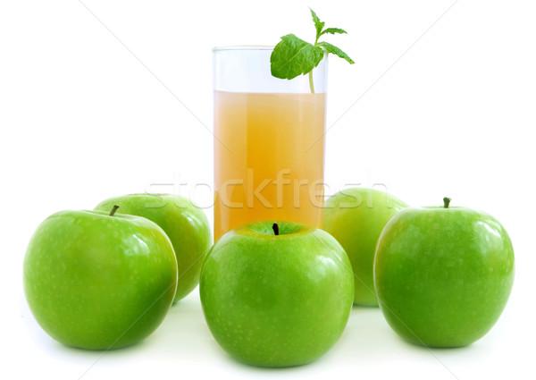 Almalé üveg friss almák fehér étel Stock fotó © unikpix