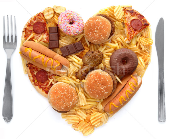 Yemek sağlıksız gıda biçim kalp Stok fotoğraf © unikpix