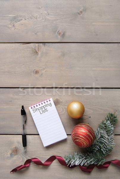 Natale shopping elenco notepad legno carta Foto d'archivio © unikpix