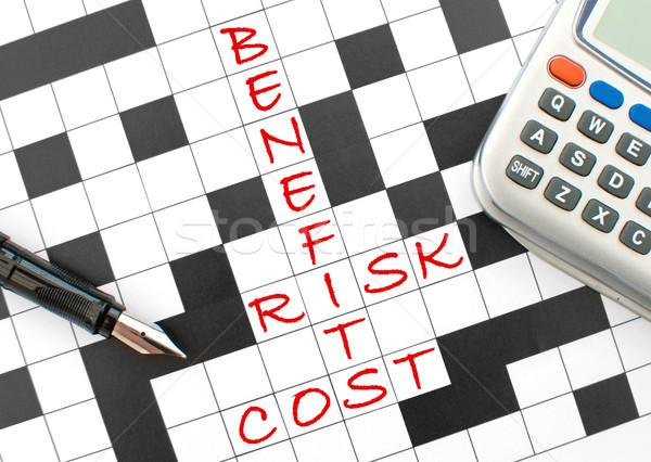 Stock fotó: Kockázatmenedzselés · előnyök · kockázat · költség · keresztrejtvény · puzzle
