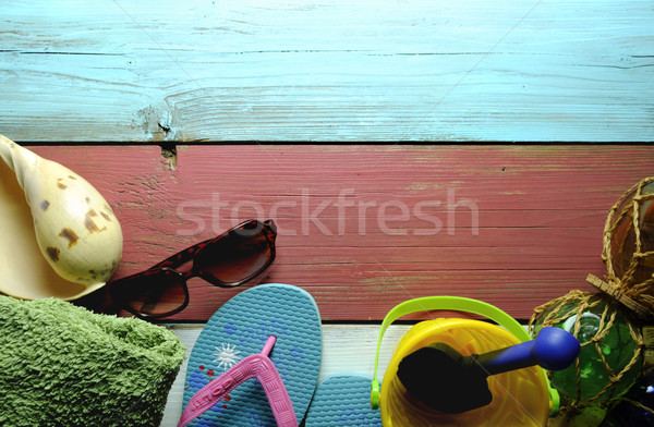 лет хижина объекты Солнцезащитные очки морем Сток-фото © unikpix