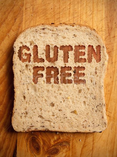 Sin gluten texto rebanada pan alimentos trigo Foto stock © unikpix