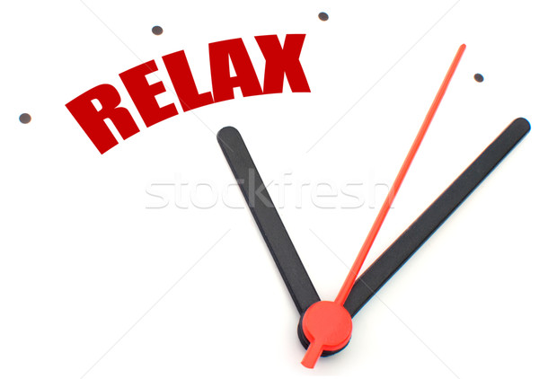 Stockfoto: Tijd · ontspannen · wijzend · woord · klok