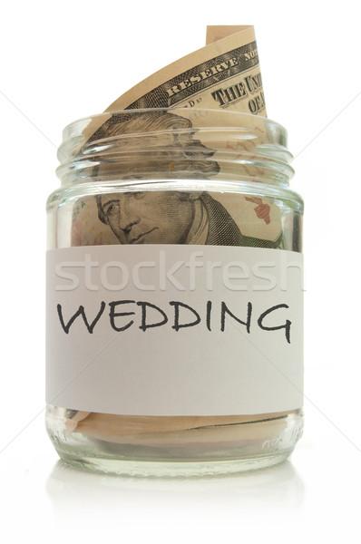 Mariage fonds dollar à l'intérieur verre Photo stock © unikpix