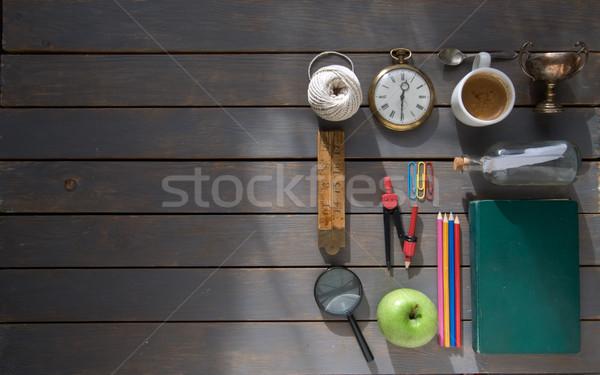 Jahrgang Schreibwaren unterschiedlich heraus Holz Raum Stock foto © unikpix