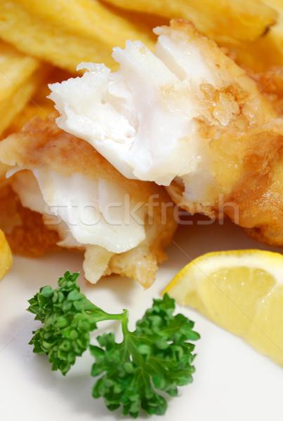 Hal sültkrumpli közelkép törött darab étel Stock fotó © unikpix