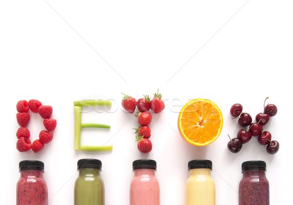 Detoxikáló dzsúz szó gyümölcsök gyümölcs háttér Stock fotó © unikpix