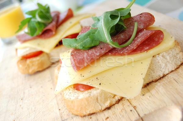 Queijo salame sanduíche delicioso torrado pão Foto stock © unikpix