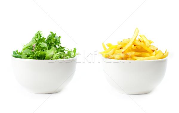 Sağlıklı sağlıksız gıda yaşam tarzı seçim patates kızartması salata Stok fotoğraf © unikpix