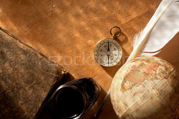 Compass, quill and globe atlas Stock photo © unikpix