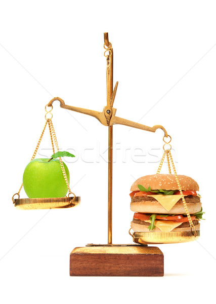 Stock photo: Diet choice between apple and burger