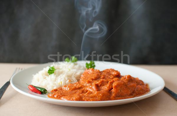 карри курица карри пластина риса чили перец Сток-фото © unikpix