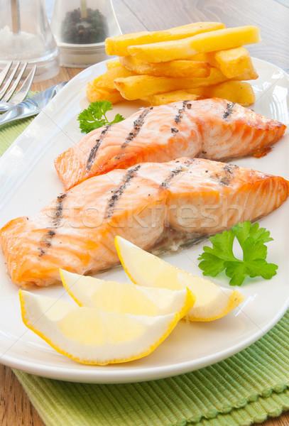 рыбы чипов гриль лосося лимона барбекю Сток-фото © unikpix
