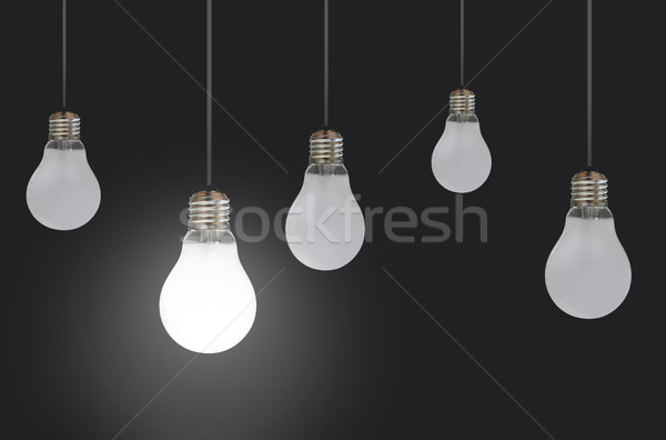 Colgante bombillas uno luz multitud poder Foto stock © unikpix