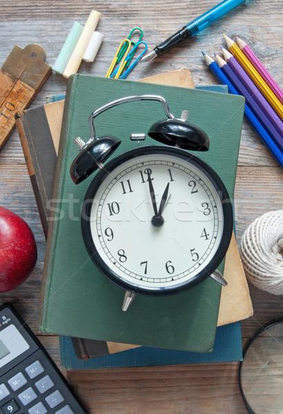 óra iskola oktatás kellékek felső könyv Stock fotó © unikpix