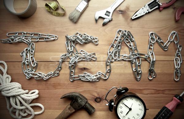 łańcucha zespołu pracy narzędzia sieci Zdjęcia stock © unikpix