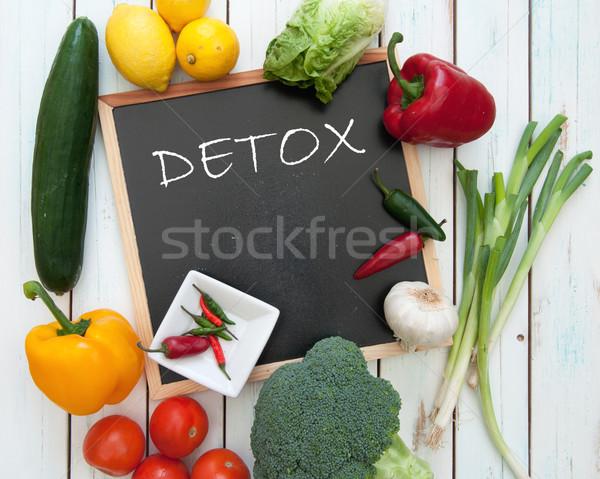Detoxikáló kézzel írott tábla friss zöldségek étel zöldség Stock fotó © unikpix