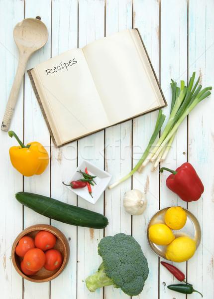 Receta libro abierto frescos ingredientes alimentos Foto stock © unikpix