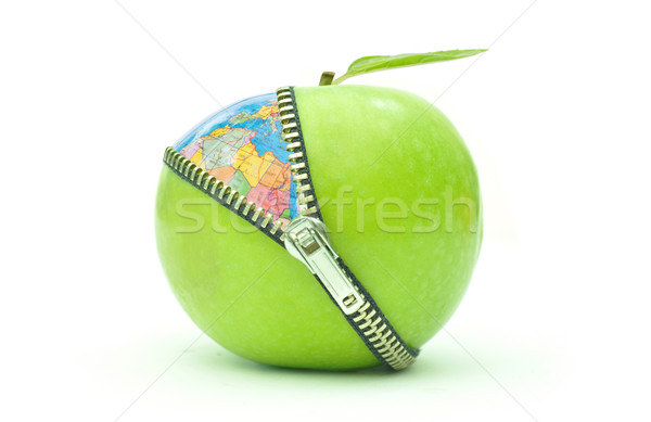 Környezeti zöld alma atlasz földgömb étel Stock fotó © unikpix