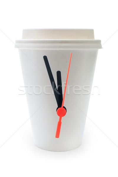 Stockfoto: Tijd · koffiepauze · klok · handen · bevestigd · beker