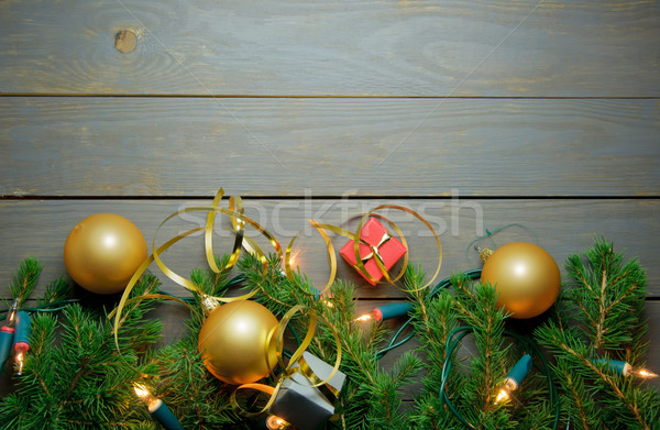 Stock photo: Christmas decorations frame