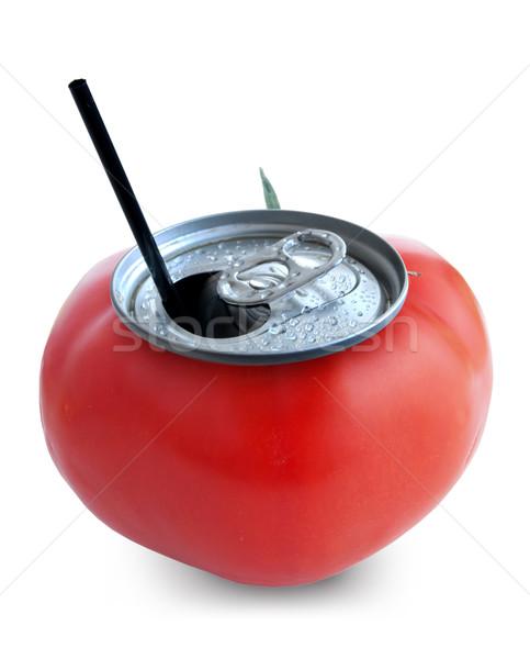 Tomatensap vers kan witte vruchten drinken Stockfoto © unikpix