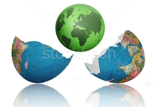 新しい 世界 生まれる 緑 地球 ひびの入った ストックフォト © unikpix
