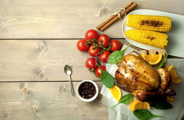 Roast turkey festive meal with background space Stock photo © unikpix