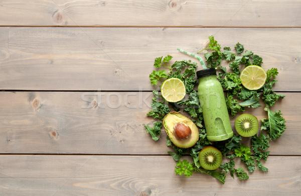 健康 グリーンスムージー ボトル 木製のテーブル スペース ストックフォト © unikpix