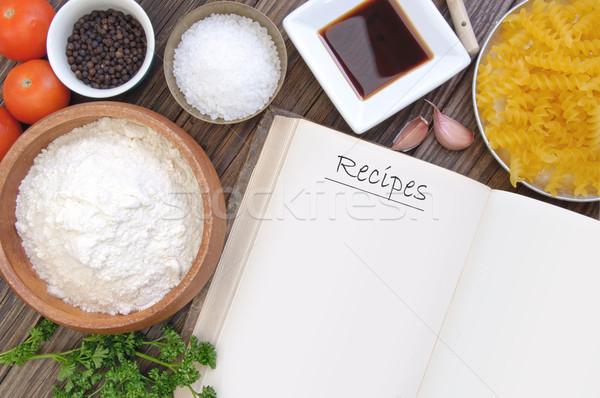 Receita livro abrir cozinhar ingredientes comida Foto stock © unikpix